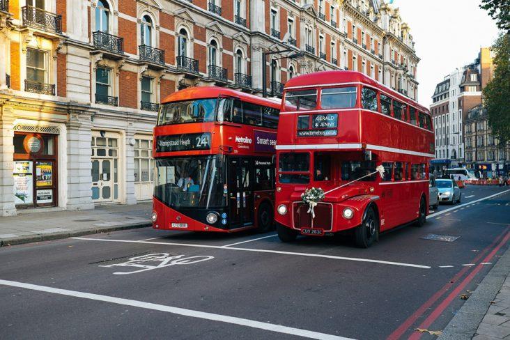 Double decker buses in London.