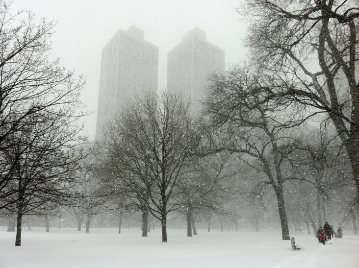 A snowy day in Chicago, IL.