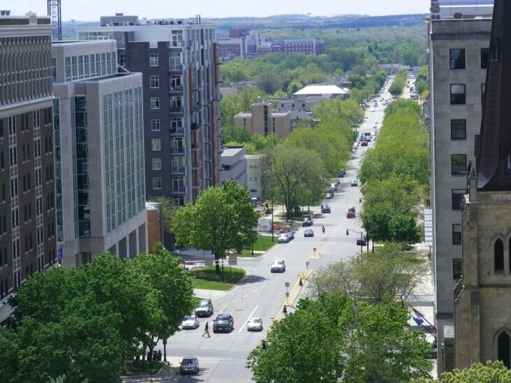 A sunny day in Madison, Wisconsin.